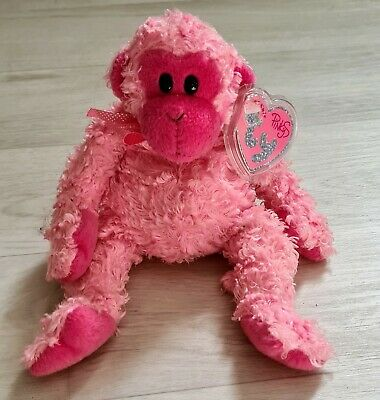 Ty Beanie Baby Pink'y Julep - The Pink Monkey - Mint - Retired  • 6£