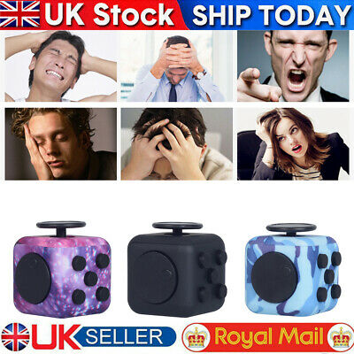Camo Fidget Cube Spinner Toy Children Desk Adults Stress Relief Cubes ADHD UK.. • 4.89£