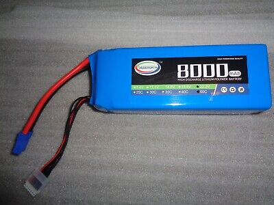 MOSEWORTH BATTERY 22.2v 8000mah 60c RATED 6s 6cell SOFTCASE LI-PO - EC5 • 89.99£