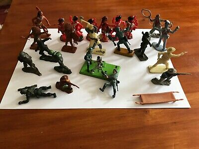 Small Bunch 1960s Plastic Figures, Cowboys + Army. Britains, Kellogs + Others • 0.99£