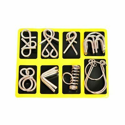 8Pcs/Set Metal Wire Puzzle IQ Mind Brain Teaser Puzzles Toy Kid Adult Game Toy • 4.78£