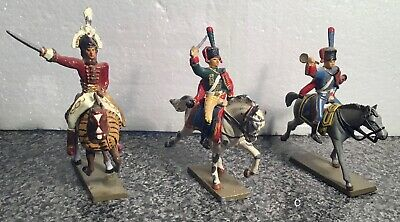 3 X Antique Lead French Mounted Soldiers (Group C) • 9£