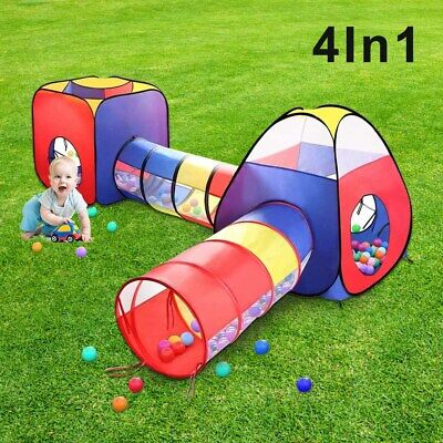 Kids Play Tents Pop Up Tunnel Baby Toddler Crawl Balls Pit Playhouse Portable • 24.99£