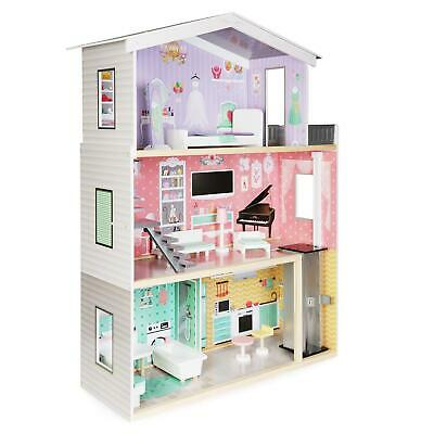 Boppi Large Wooden Dolls House Barbie Size With Lift And 10 Play Accessories • 69.99£