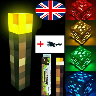 Light Up Torch LED Minecraft Hand Held Or Wall Mount Flashlight Toys Kids USB UK • 11.99£