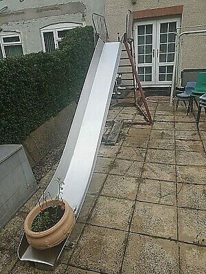 Freestanding Stainless Steel Garden Slide Complete With Step Frame, Antique • 250£