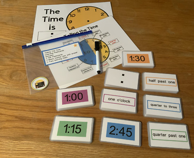 Teaching Telling The Time Practice Clock Flash Cards Early Learning Resource KS1 • 9.99£
