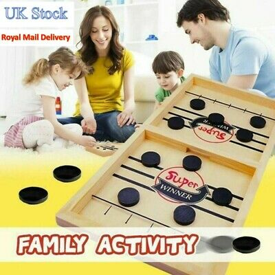 Wooden Hockey Game Table Game Family Fun Game For Kids Children 100% UK Stock • 14.39£