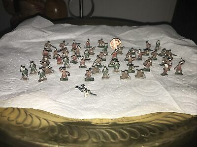 Vintage MinIature Lead Soldiers And Indians X 53 • 5£