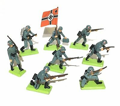 Britains Deetail WW2 German Infantry Soldiers X8 - 1970s Made In England • 26£