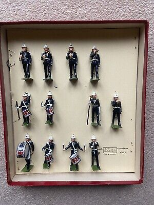 BRITAINS Soldiers - Royal Marines Drums & Bugles Band Boxed 12 Piece Set In VGC • 94£