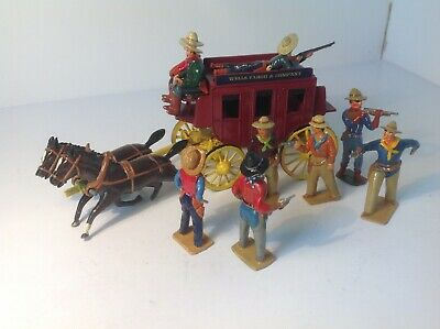 Very Nicely Converted & Painted Lead Crescent Stagecoach With Cowboys & Bandits  • 49.99£