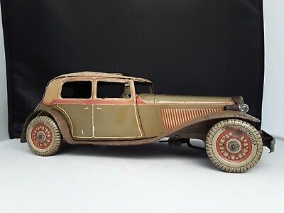 Wells Clockwork Tinplate 1930s Saloon Car Complete With Driver - Rare Complete • 230£
