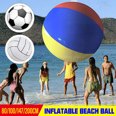 Inflatable Beach Ball Summer Pool Parties Inflator Balloon Outdoor Beach Toy • 41.03£