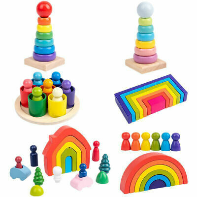 Wooden Rainbow Building Stacking Blocks Baby Toddler Educational Montessori Toys • 9.80£