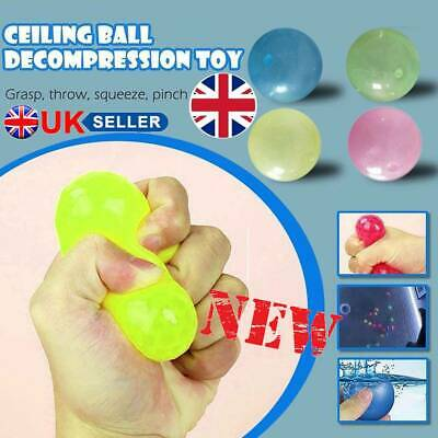 4X Fluorescent Sticky Wall Ball Sticky Target Ball Decompression Toy Kid Gift UK • 5.52£