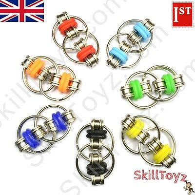 Fidget Bike Chain Ring Stress Relief Toy 25mm Silver 7 Colours! UK SHOP UK STOCK • 4.29£