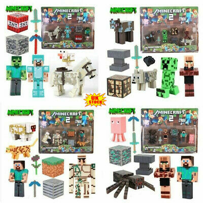 Minecraft Overworld Collection Action Figure SET Steve Enderman Diamond Kids Toy • 11.79£