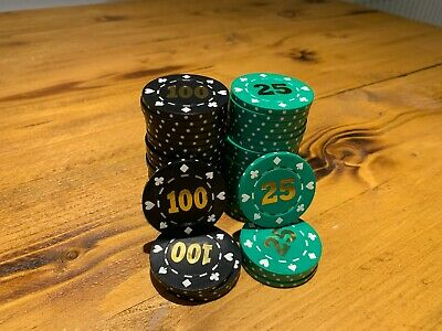 50 Casino Style Poker Chips - Hot Stamp Denominations Of 25 And 100 - 39mm / 12g • 5.49£
