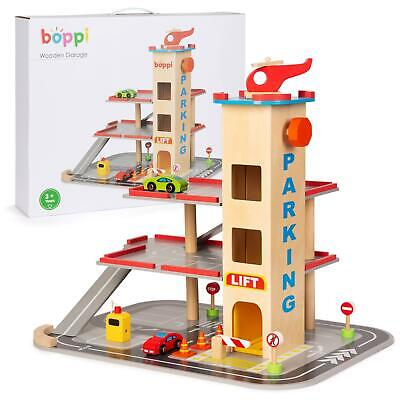 Boppi Wooden Toy Garage Carpark With 12 Pieces Inc 2 Cars & Helicopter And Lift • 34.99£