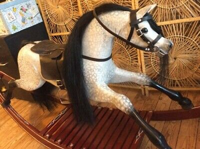 Vintage Traditional Wooden Rocking Horse On Bow Rocker Toy Dapple Grey Gift  • 395£