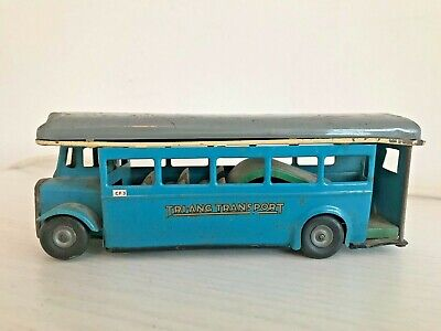 Triang Minic Tinplate Push & Go Single Decker Bus, Later Issue Blue Livery. • 32£