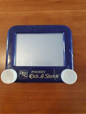 Blue Pocket Etch A Sketch Drawing Toy - Vintage Ohio Art. Perfect Working Order. • 12£
