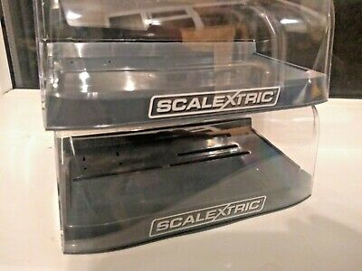 Scalextric 2 New Rounded Flip Style Clear Crystal Display Cases With Grey Bases • 15£