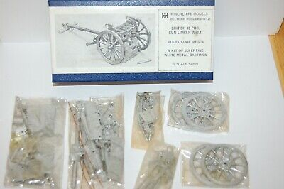 Vintage Hinchliffe White Metal Lead Ww1 British 18 Pdr Gun And Limber Kit • 39.99£