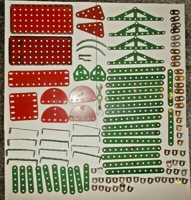 Vintage Meccano 110 Assorted Green & Red Pieces • 18£