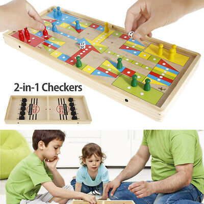 Wooden Hockey Game Fast Sling Puck Game Family Game Table Game Child Toy 2 In 1 • 13.19£