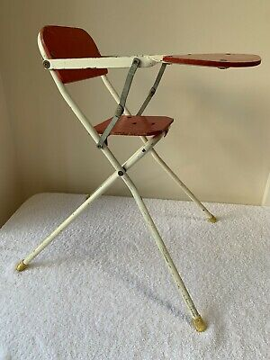 Vintage 1960s Doll's High Chair - Possibly Tri-ang - Metal And Wood • 19.99£