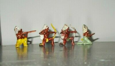 CRESCENT VINTAGE 4 KNEELING NATIVE AMERICAN INDIANS With METALIC BRONZED BODIES • 12£