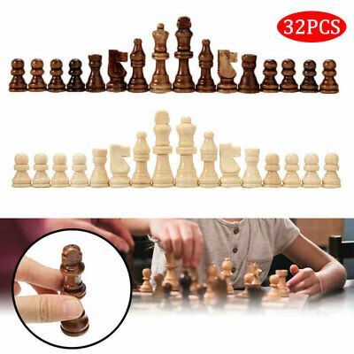 32X Wooden 65/91mm King Chess Crafted Large Chessman Carved Pieces Hand Toy Set • 10.60£