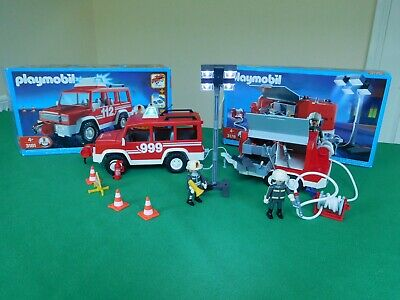 Two Playmobil Sets, 3181 4x4 Lead Fire Vehicle And 3178 Fire Support Trailer • 30£