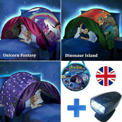 Dream Tents Kid House Unicorn Foldable Tent Pop Up Indoor Bed With Light Gifts • 13.99£
