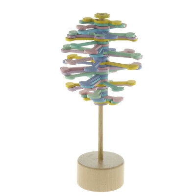 Colorful Wood Rotating Lollipop Creative Stress Relief Toy Home Office Decor • 7.42£