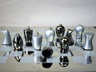 Modern Chess Set  Mat And Brushed Stainless Steel • 89.99£