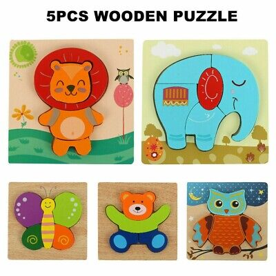 Wooden Animal Puzzle Jigsaw Early Learning Toddler Kids Educational Toys -5 SET  • 6.99£