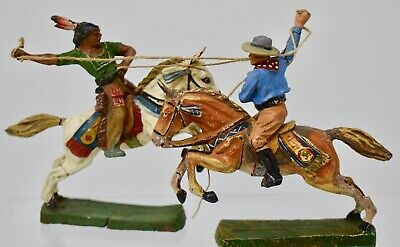 ELASTOLIN GERMANY COMPOSITION -70mm- WILD WEST . MOUNTED FIGHT - LOT E1 • 9.99£