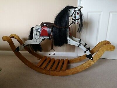 Vintage Dapple Grey Rocking Horse On Bow Rocker - Leather Saddle And Bridle • 270£
