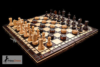 Prime Chess Hand Crafted Cherry Wooden Chess And Draughts Set 35cm X 35cm  • 25.99£