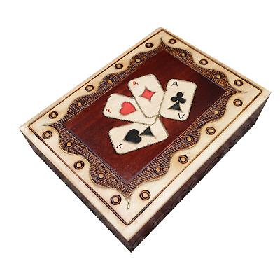 Wooden Double Playing Cards Box In Brown Color • 16.99£