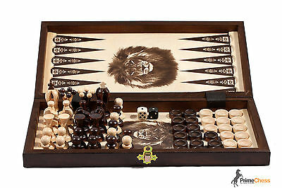THE KINGDOM Wooden Chess + Backgammon + Draughts Set 35cm STUNNING HAND CRAFTED! • 27.99£