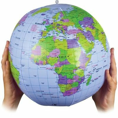 Large 40cm Inflatable World Earth Globe Atlas Map Geography Beach Ball Toy Party • 2.49£