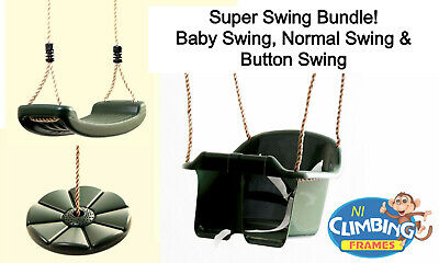 SUPER SWING BUNDLE: Climbing Frame Set Playhouse Outdoor Baby Normal Button Seat • 36.99£