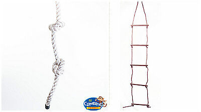 Knotted Rope Or 5 Rung Rope Ladder: Thick, Safe, Climb, Climbing Frame, Play Fun • 15.95£