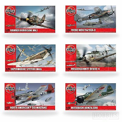 Airfix 1:72 Model Kits WW2 Aircraft Spitfire Hurricane Messerschmitt Focke Plane • 12.99£