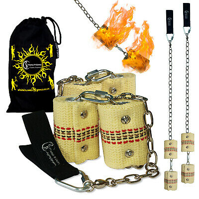 Fire Poi -Double Burner Flames N Games Pro Fire Spinning Poi 4 X 65mm Wick + Bag • 47.99£