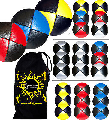 Pro Thud Juggling Balls Set Of 3 - PU Leather Beanbag Juggling Ball Set & Bag • 11.80£